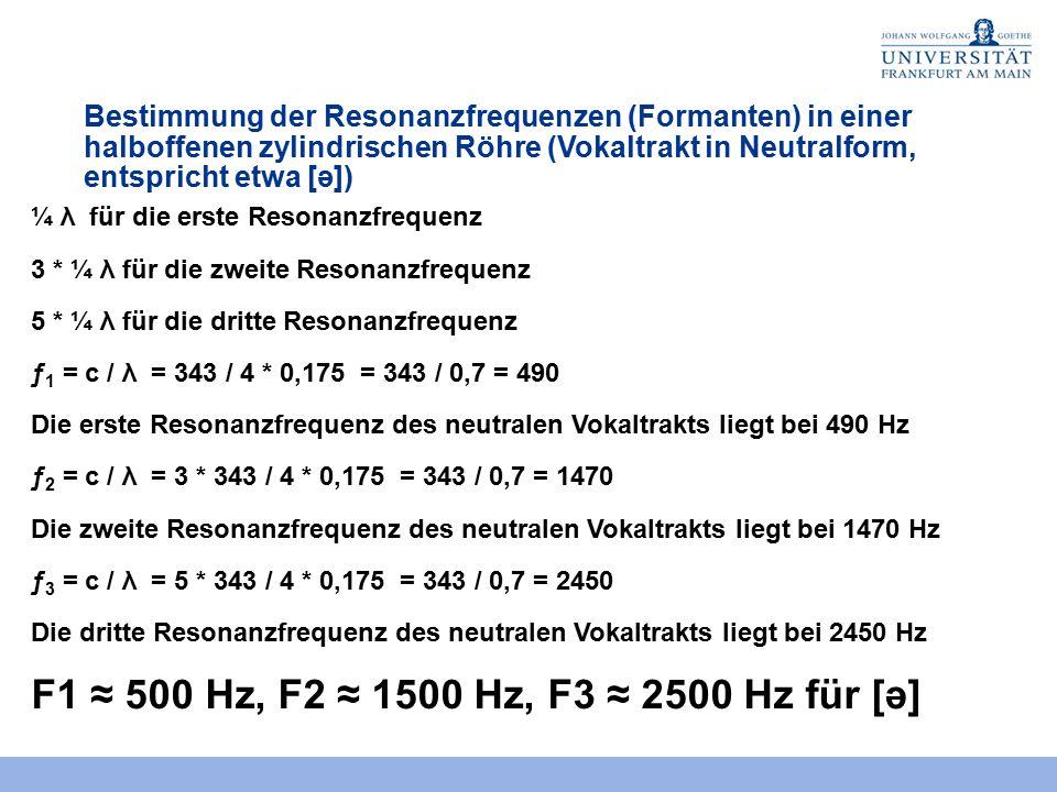Bestimmung der Resonanzfrequenzen (Formanten) in einer halboffenen zylindrischen Röhre (Vokaltrakt in Neutralform, entspricht etwa [ə])